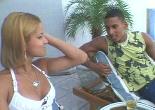 Latin babe and her slutty affiliate share a obese cock outdoors