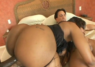 Bodaciously spectacular black unladylike Cherokee engages in a threesome