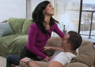 He fucks this hot brunette on the ottoman and the amaze