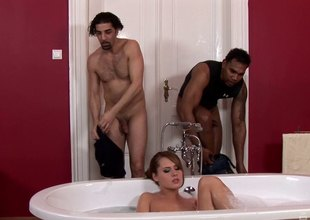 Two guys interrupt will not hear of bath and turn it secure a hot threesome