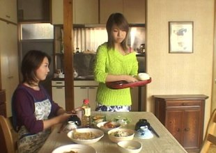 Sweet Japanese sweater girl makes love to a married ladies'