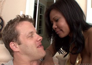 Large tit ebony honey acquires a rough fucking from a white suppliant
