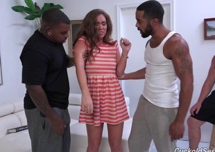 Cuckold person looks exceeding as A hot wife rides two big black cocks ingratiate oneself with culminate