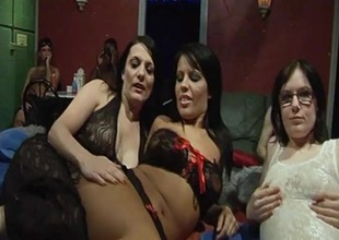 A handful of down in the mouth British cuties hooked up for a Saturday night gangbang party at our hamper fuck hut.
