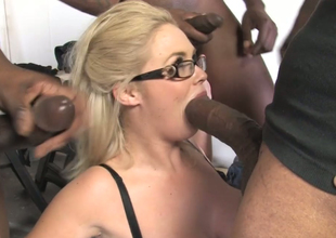 Chubby unshaded with big boobs Katie Kox fucks a crowd of black dudes