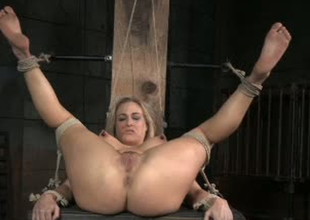 Curvy whore Angel Allwood is unworked toy fucked wide BDSM porn clip