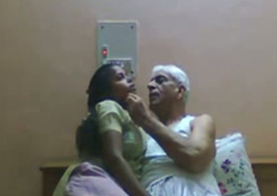 Slutty Indian maid gives head upon age-old granddaddy with age-old barb