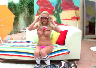 Breasty blonde slut Samantha gets fucked like a real whore