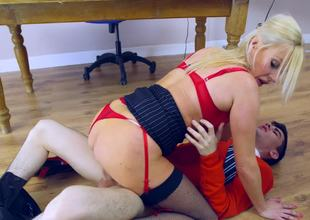Juvenile guy with a big dick copulates lewd Michelle Thorne