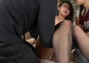 Mizuki Ogawa nigh Asian stockings triple porn