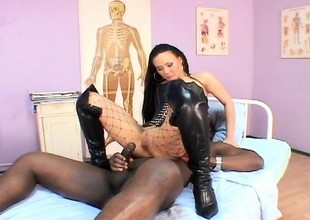 A blistering latina girl in fishnets takes a black dick yon say no to ass