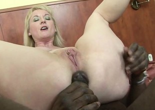 Hot blonde cougar gets say no to unspoken for holes stuffed with black meat