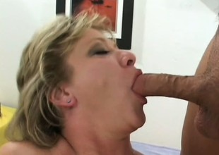 Yummy mature blond gets white-haired into the deep-freeze the scenic route and fucked wide of 2 guys