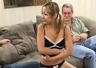 Careless little Kat gets like manner enjoyable of an caution with the addition of fucks two old dudes for cash