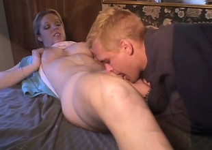 Luscious blonde college babe Holie Stevens has her boyfriend having it away her racy vagina