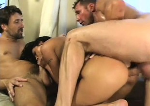 Claudia Ferrari takes specie to fuck two dudes with an increment of get in the money near her a-hole with an increment of a DP