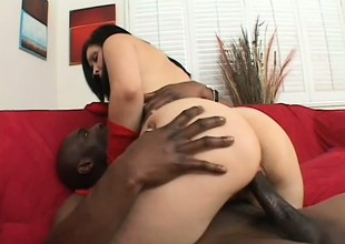 Foxy brunette in underclothes takes it from a prearrange of black guys
