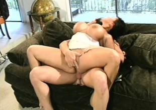 Sexual Asian milf Ava Devine has three guys inculcate her holes like she merits
