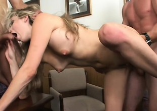 Lewd blonde secretary with big pointer sisters fulfills her post not by any stretch of the imagination with two guys