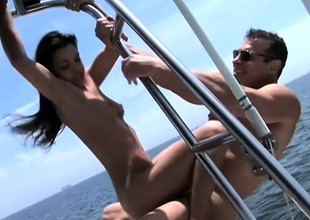 Arresting juvenile brunette Alicia Bettor enjoys a hard pounding heavens a boat