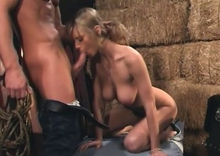 Slim blonde moans whilst bouncing on a broad connected with the beam meat stick connected with the barn