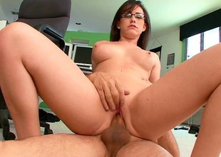 Youthful secretary with wonderful tits gets ravaged by the brush older boss