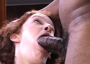 Redhead cock-lover gets into an out-of-control interracial threesome