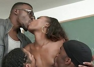 Chanell Heart Is Treated Like Hammer away Lecture-hall Slut By Four Big Black Dongs