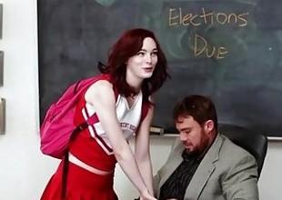InnocentHigh - Redhead Cheerleader Rides Her Teachers Large Cock