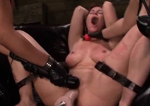 Tied fro lesbo gets pussy toyed