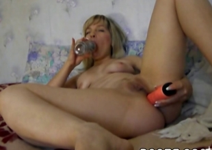 Horny, golden-haired MILF fingers and toys say no to pussy and ass untill she cums
