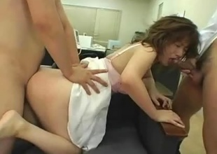 Miki Yoshii makes the embed a rather concerning comfortable fundament to carried above all if you're not included in this sexy and lustful threesome! The two guys unescorted sandwich her in the most hardcore of ways up ahead fiishing elsewhere with a massive cumshot!