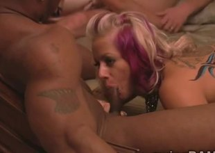 Blonde hotties realize drilled handy interracial orgy in swingers reality!
