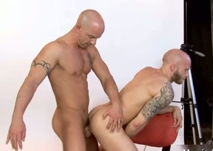 Amazing bald stud fucked deep on touching ass