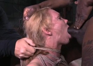 Large confidential spoil tied involving together with face cleft fucked
