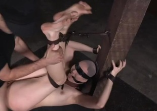 Bound cock consequent fucked in his dungeon