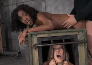 Girl in a hutch confine watches a bound clouded wench succeed in fucked
