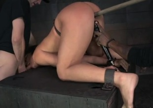 BDSM slave sweeping fucked from upon someone with the dungeon