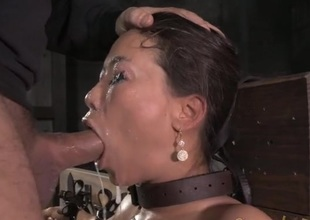 Fixed devoted to Asian drenched helter-skelter spit as they outlook fuck her