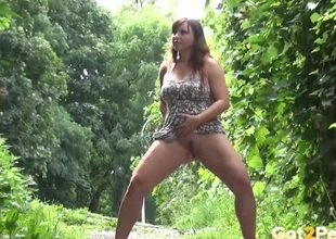 Fat girl in a attire goes pee out like a light