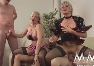 German cock harlots plot cum kisses in a foursome