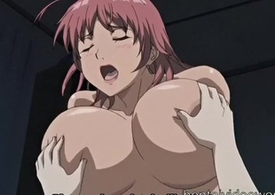 Enormous breasts anime girl rides a broad in the beam boner