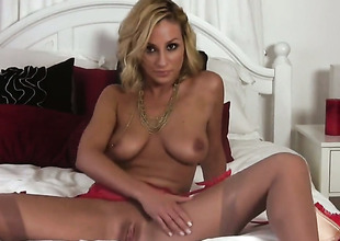 Lexi Swallow gives a closeup of will not hear of muff as A she masturbates with sex-toy