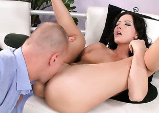 Brunette Bailee gets her bottom used before getting enough